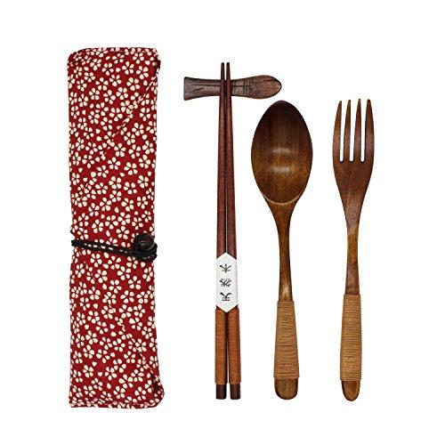 UPC 710824035989, Japanese Natural Wooden Tableware Sets of 5-pieces (1 Spoon, 1 Chopsticks, 1 Fork, 1 Chopsticks Holder, 1 Tableware Bag) (Q15108)