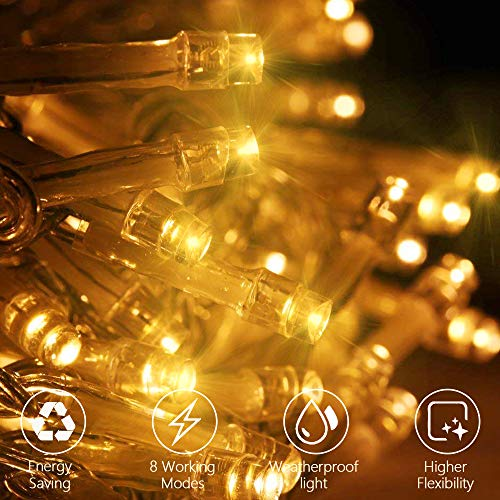 Curtain Lights,Casacop IP5 Waterproof String Lights 9.8ftx9.8ft 300 LED Fairy Lights with 8 Modes Setting for Christmas Decorations Indoor & Outdoor Ambiance Lighting,Garden and Wedding Party