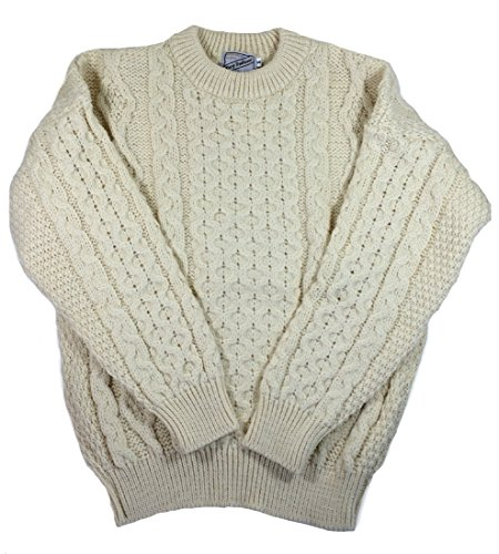 Kerry Woollen Mills Aran Wool Sweater Natural Crewneck Unisex Made in Ireland ()