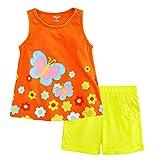 Little Bitty Little Girl Short Set Summer Cotton Clothing Set Short Set Orange 7T