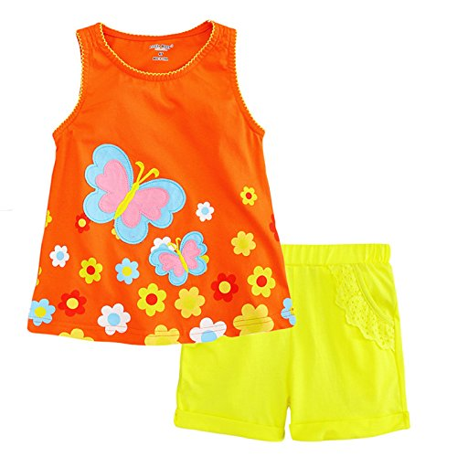 (Little Bitty Little Girl Short Set Summer Cotton Clothing Set Essential Shorts Set, Orange , 2-3)