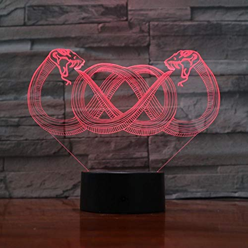 Xiujie 3D Night Light Double-Headed Snake 7 Color Illusion Lamp Children's USB Touch 3D Table Lamp Halloween Christmas Children's Gift Bedroom Bedside Lamp -