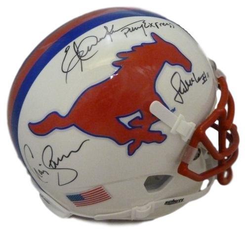 Pony Express Autographed SMU Mustangs Mini Helmet JSA Dickerson/James/McIllhenney (Smu Replica Mustangs)