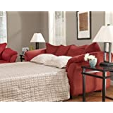"Darcy Collection 7500136 90"""" Full Sofa Sleeper with Fabric Upholstery Plush Padded Arms Tapered Block Feet and Contemporary Style in Salsa"