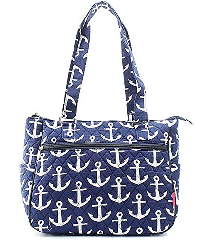 Nautical Anchor Quilted Canvas Tote (Designer Inspired Monogram Handbag)