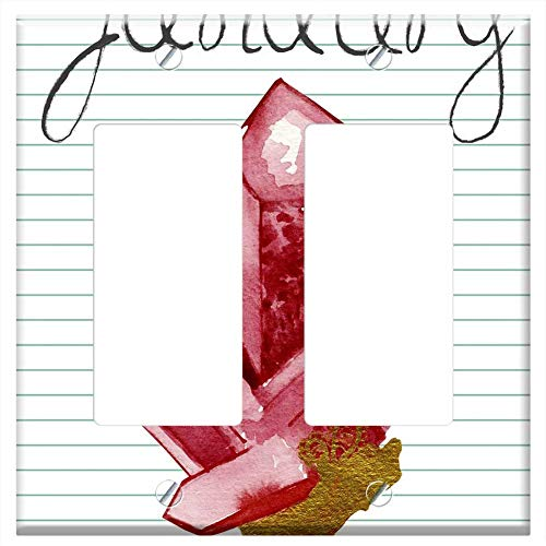 (Switch Plate Double Rocker/GFCI - Birthstone January Garnet Red Stone Jewel Rock)