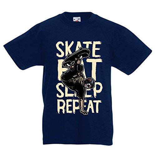 T Shirts for Kids Eat Sleep Skate Skateboard Lover, Skateboarder, Skateboarding (5-6 Years Dark Blue Multi Color)