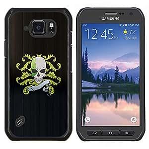 Caucho caso de Shell duro de la cubierta de accesorios de protección BY RAYDREAMMM - Samsung Galaxy S6Active Active G890A - Pirata del cráneo Cresta Bandera