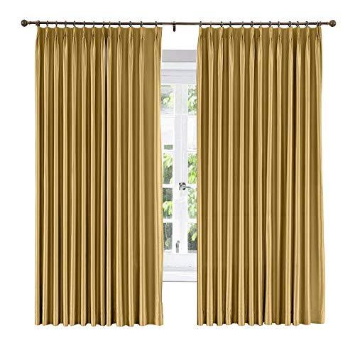 ChadMade Soundproof Energy Saving Polyester Cotton Silk Solid Curtain Gold 84