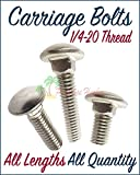 Paradise Harbor 1/4-20 50 Pcs Stainless Steel Carriage Bolts Stainless Steel Metal Carriage Bolts 1'' Length