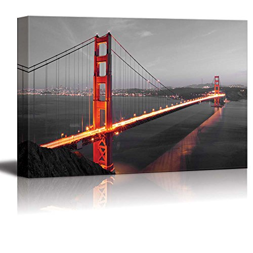 Pop of Color the Golden Gate in San Francisco Red Color Stands out against Black and White Background
