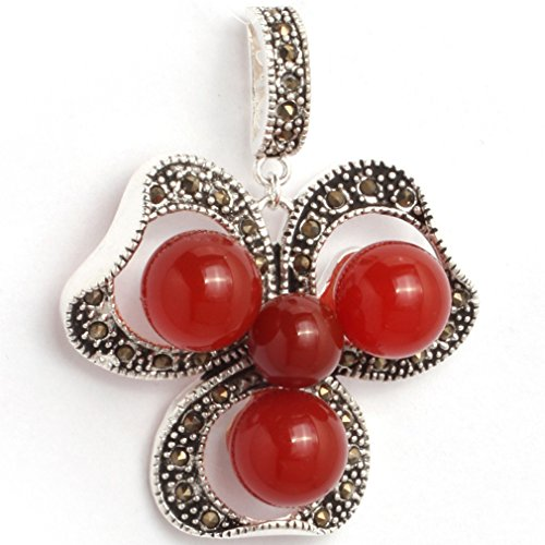 29x38mm round Red Jade Beads Flower Frame Marcasite Silver Base Pendant