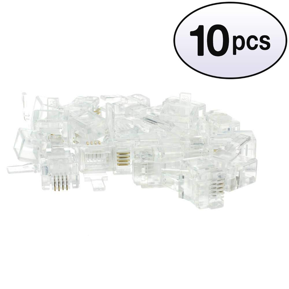 50 Phone Data RJ11 Crimp Connectors for Stranded Wire Lot of 50 Pieces