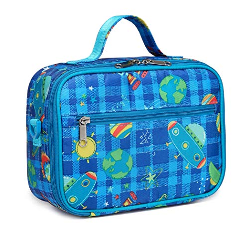 Boys Insulated Lunch Bag Small,Kids Lunch Box for School Kindergarten Preschool with Handle Zipper Side Pockets Drink Holder (Space,Blue)