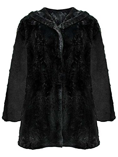 Black Faux Fur Plush Swing Jacket Hood