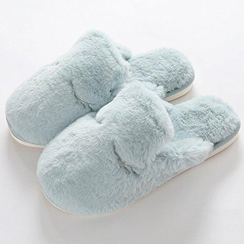 Eastlion Frauen und Frauen Innen Winter Warm Anti Rutsch Fleece Pelz Hausschuhe Haus Hausschuhe Blau