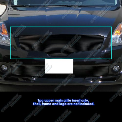 Compatible with 2007-2009 Nissan Altima Sedan Black Billet Grille Grill Insert S18-H67468N