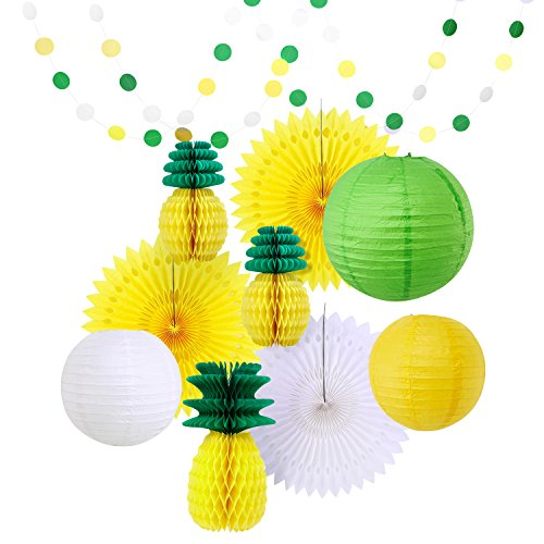 Hawaiian Party Decorations Summer Party Decoration Kit Hawaiian Party Supplies Pineapple Balls Decorations Paper Honeycombs Lanterns Yellow White Green Decoration Decor for $<!--$7.89-->