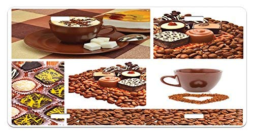 zaeshe3536658 Kitchen License Plate, Collection of Chocolate Sweets Muffins Coffee Beans and Mugs Cappuccino Pastries, High Gloss Aluminum Novelty Plate, 6 X 12 ()