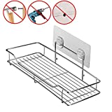 BNY Bathroom Shelf (Adhesive Shelf) Kitchen Organizer Rack Shower Caddy for Shampoo Holder, Wall Mounted, No Drilling, SUS304 Stainless Steel (L-length)