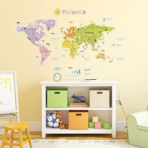 DecowallThe-World-Map-peel-stick-wall-decals-stickers