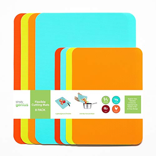 Simply Genius (8 Piece) Extra Thick Cutting Boards for Kitchen Prep, Non Slip Flexible Cutting Mat Set, Dishwasher Safe…