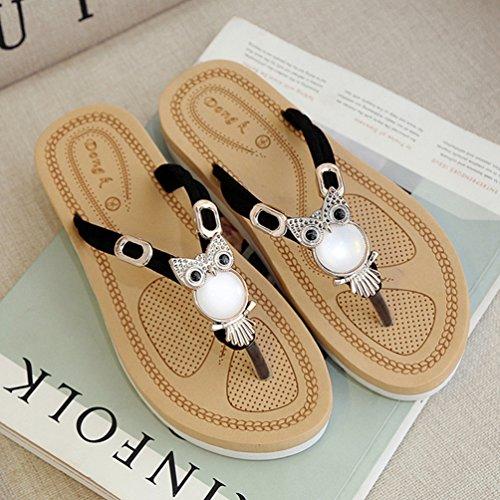 Thong Flip Forme Sandales Beach Femmes étincelante Confort Métallisées Plate Summer Cute de Flops Noir Plat qw41S