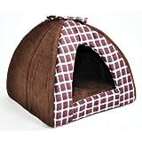 nanook Katzen-Höhle Hunde-Höhle MYKESCH, Größe M oder L mit Kissen, waschbar, braun kariert