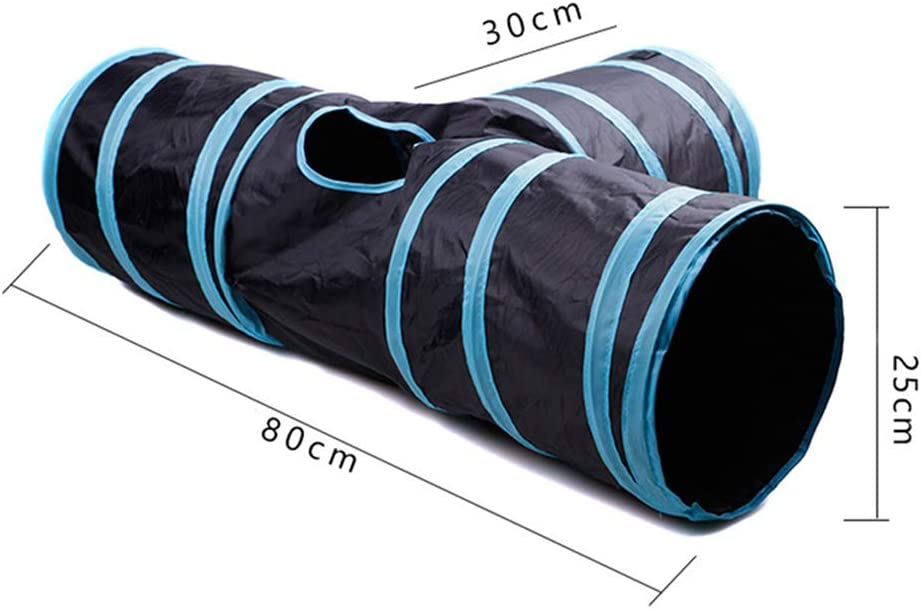 Prosperveil Collapsible Cat Tunnel Toy 2 Way Pet Tunnels and Tubes with Crinkle and Ball Interactive Cat Play Fun Toys for Indoor Cats Kitten Blue