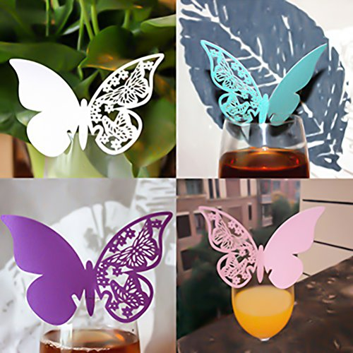 Ioffersuper 50 Pcs Wine Glass Cup Decoration Butterfly Postcards Wall Decals Sticker,Blue