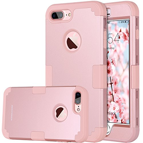 iPhone 8 Plus Case, iPhone 7 Plus Case, BENTOBEN Heavy Duty Slim Shockproof Drop Protection 3 in 1 Hybrid Hard PC Covers Soft Rubber Bumper Protective Case for iPhone 8 Plus / 7 Plus Cute Rose (Pink Hard Rubber)