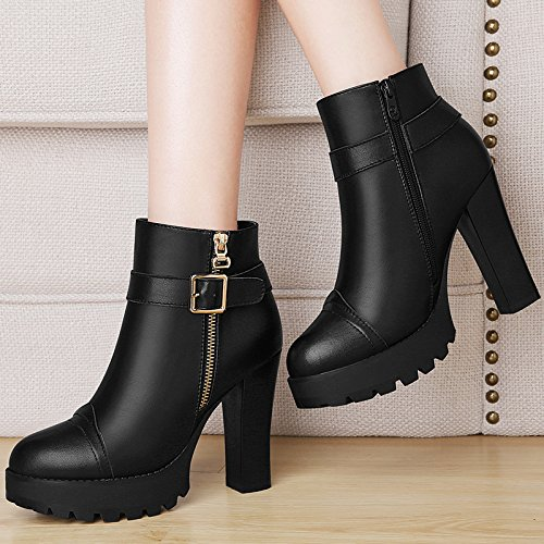 Side Round High Thick Waterproof Buckle With KHSKX Boots Boots Thirty New nine Zipper Onqn1F