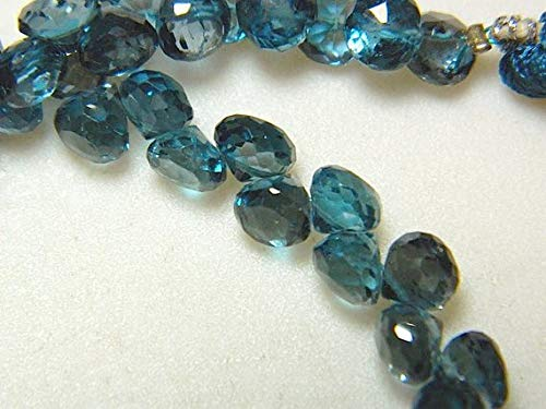 Blue Topaz Briolette Beads - Gems World Beautiful Jewelry London Blue Topaz Beads, Blue Topaz Onion Briolettes, Faceted Beads, 7mm Beads, 10 Pieces Code-COM-3334