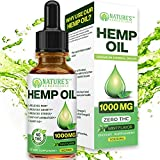 Organic Hemp Oil 1000MG - Ultra-Premium Pain Relief Anti-Inflammatory, Stress & Anxiety Relief, Joint Support, Sleep Aid, Omega Fatty Acids 3 6 9, Non-GMO Ultra-Pure CO2 Extracted Extract Drops