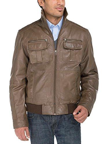 (LN LUCIANO NATAZZI Men's Trim Fit Lambskin Leather Blast Washed Moto Jacket (X-Large,Olive))