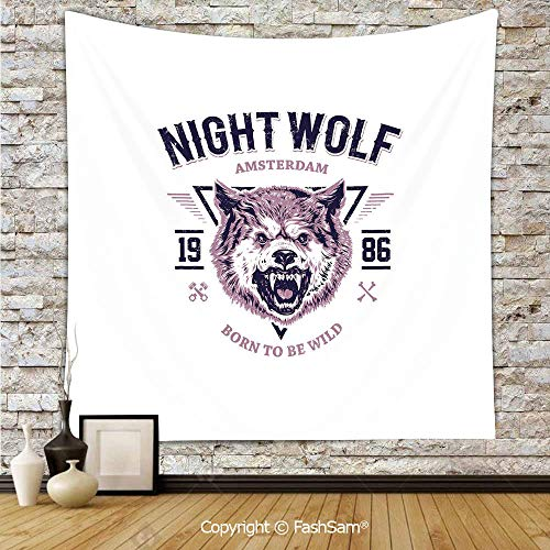 FashSam Tapestry Wall Blanket Wall Decor Born to be Wild Angry Animal Vintage Grunge Illustration Roaring Savage Retro Decorative Home Decorations for Bedroom(W59xL90)]()