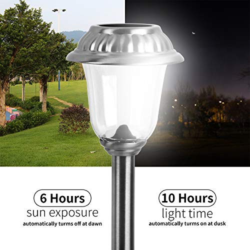 EZSolar Solar Pathway Lights Outdoor of Stainless Steel Case, Glass Lens, Garden Lights for Patio, Walkway- 8 Packs by EZSolar (Image #3)