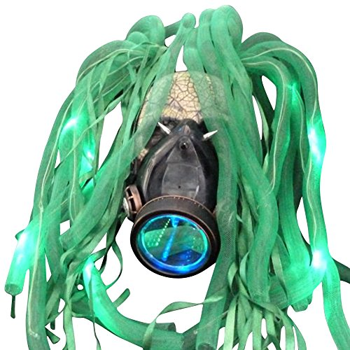 Steampunk LED light dread cyberlock goth RAVE club face gas mask (Gas Mask Girl Costume)