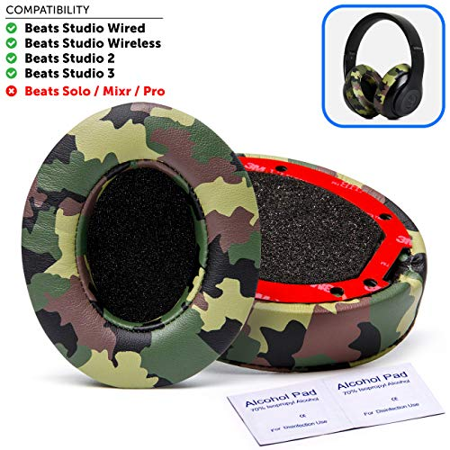 Beats Replacement Ear Pads by Wicked Cushions - Compatible with Studio 2.0 Wired/Wireless and Studio 3 Over Ear Headphones by Dr. DRE ONLY (Does NOT FIT Solo) | Green Camo