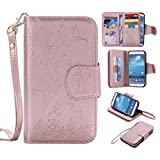 S4 Case, Ngift Galaxy S4 Case, PU Leather [Flower Girl] [9 Card Slots] [Wrist Strap] [Stand Feature] Flip Case Cover for Samsung Galaxy S4 i9500 [Rose gold]