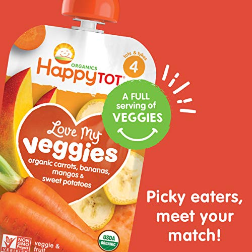 51e3pToRBFL - Happy Tot Organic Stage 4 Baby Food Love My Veggies Carrot Banana Mango & Sweet Potato, 4.22 Ounce Pouch (Pack Of 16) (Packaging May Vary)