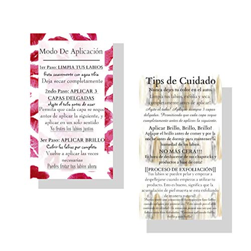 Spanish How To Apply LipSense by SeneGence | 50 Pack | Tips and Tricks Double Sided Business Cards | Lip Print Pattern Design ()