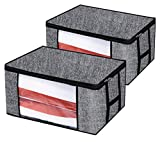 Onlyeasy Foldable Storage Bag Organizers - Breathable Household Home Organizers Bins for Duvet Clothes Blankets Comforters Quilts with Large Clear Window, 23.6'x17.7'x11.8'