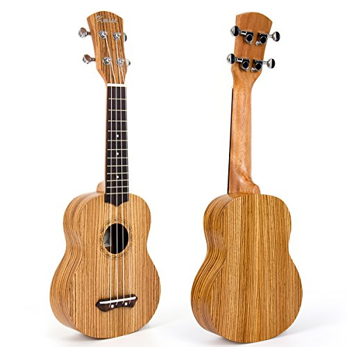 Kmise Acoustic Ukulele Ukelele Uke Soprano Hawaiian Guitar 21 Inch Mahagany (Zebra Wood)