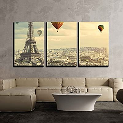 3 Piece Canvas Wall Art - Colorful Hot Balloons Flying Above The Eiffel Tower in Paris - Modern Home Art Stretched and Framed Ready to Hang - 16