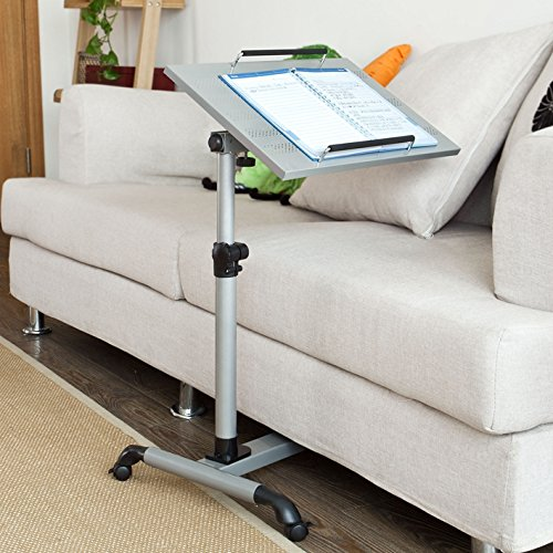 SoBuy Auto-Touch Laptop desk Cart , Overbed Table, Bed Table, Sofa Side Table, FBT07N-SIL