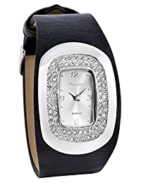 Marciano Women's | Black PU-Leather Band Watch With Luxury Style Rhinestone Accented Bezel | HA0237