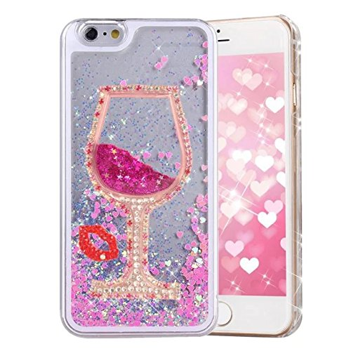 iPhone 7 Plus Liquid Glitter Case, QKKE [Hourglass Series] 3D Glitter Bling Hearts Flowing Liquid Heart Clear Hard Case for iPhone 7 Plus 5.5 Inch (Goblet Diamond/Pink)