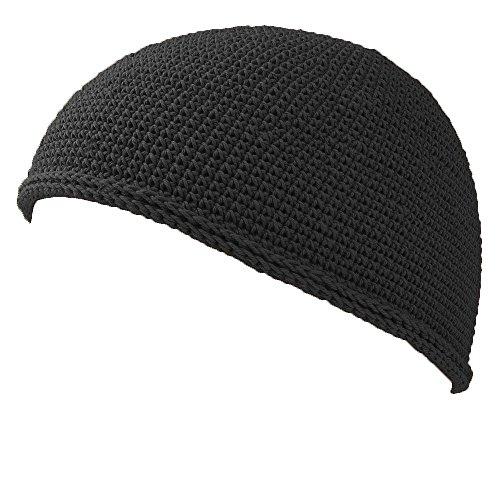 Kufi Hat Mens Beanie - Men Cotton Skull Cap Hand Made 2 Sizes Islam Black M