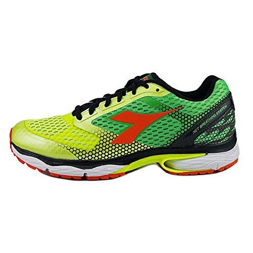Diadora Scarpa Running Sneaker Jogging Uomo N-6100-4 Yellow Fluo green Fluo Scarpe